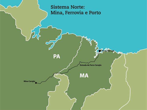 A operação  mina, usina, ferrovia e porto constituía, então, o Sistema  Norte da Vale, compreendendo as operações da Vale no Pará e no Maranhão. 8ee8dbb30e